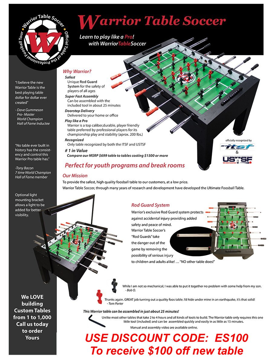 Foosball Table Review Warrior Table Soccer